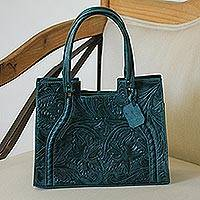 Leather handbag, 'Lush Impressions in Teal' - Handcrafted Forest Green Embossed Leather Handle Handbag