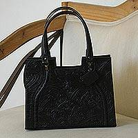 Leather handbag, 'Lush Impressions in Black' - Handcrafted Black Embossed Leather Handbag from Mexico