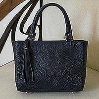 Leather handbag, 'Garden Impressions in Navy' - Handcrafted Navy Floral Motif Embossed Leather Handbag