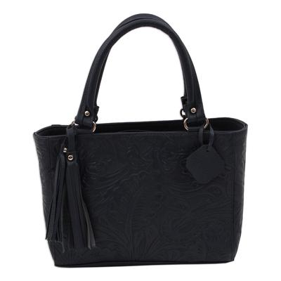 Leather handbag, 'Garden Impressions in Navy' - Handcrafted Navy Floral Motif Embossed Leather Handbag