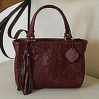 Leather handbag, 'Garden Impressions in Russet' - Handcrafted Russet Floral Motif Embossed Leather Handbag