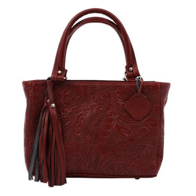 Leather handbag, 'Garden Impressions in Russet' - Handcrafted Russet Floral Motif Embossed Leather Handbag