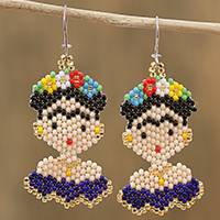 Glass beaded dangle earrings, 'Blue Frida' - Glass Beaded Frida Dangle Earrings in Blue from Mexico