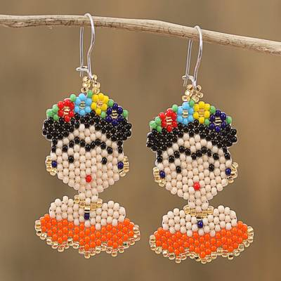 Glass beaded dangle earrings, 'Orange Frida' - Glass Beaded Frida Dangle Earrings in Orange from Mexico