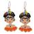 Glass beaded dangle earrings, 'Orange Frida' - Glass Beaded Frida Dangle Earrings in Orange from Mexico (image 2a) thumbail
