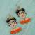 Glass beaded dangle earrings, 'Orange Frida' - Glass Beaded Frida Dangle Earrings in Orange from Mexico (image 2b) thumbail