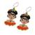 Glass beaded dangle earrings, 'Orange Frida' - Glass Beaded Frida Dangle Earrings in Orange from Mexico (image 2c) thumbail