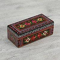 Wood decorative box, 'Wonderful Flowers' - Hand-Painted Floral Wood Decorative Box from Mexico