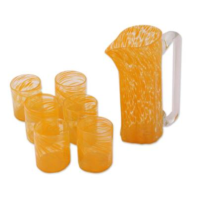 Recycled Glass Pitchers and Tumblers in Orange (Set for 6)