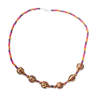 Handcrafted Wood Beaded Necklace from Mexico