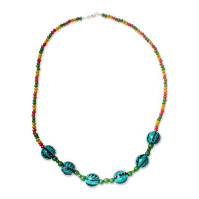 Colorful Wood Beaded Necklace from Mexico