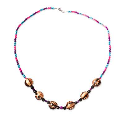 Handmade Wood Beaded Necklace from Mexico
