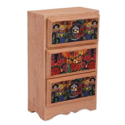 Day of the Dead Decoupage Wood Jewelry Chest from Mexico