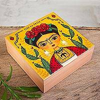Decoupage wood decorative box, 'Frida Decor' - Decoupage Wood Frida Decorative Box from Mexico