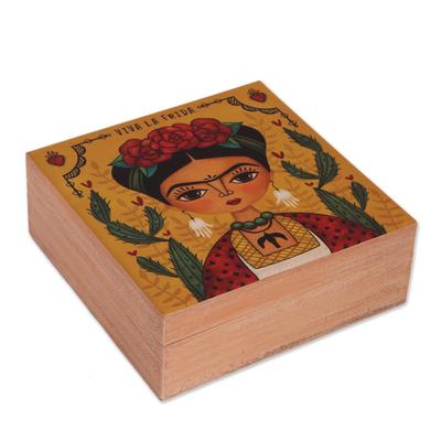 Decoupage wood decorative box, 'Frida Decor' - Decoupage Wood Frida Decorative Box from Mexico