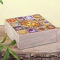 Decoupage wood decorative box, 'Sun and Moon Portraits' - Sun and Moon Motif Decoupage Wood Decorative Box from Mexico