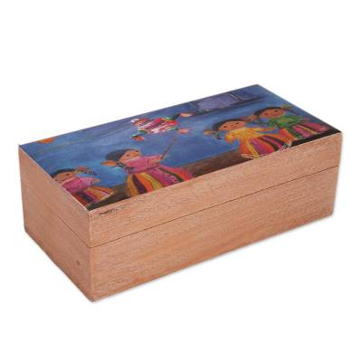 Cultural Decoupage Wood Decorative Box from Mexico