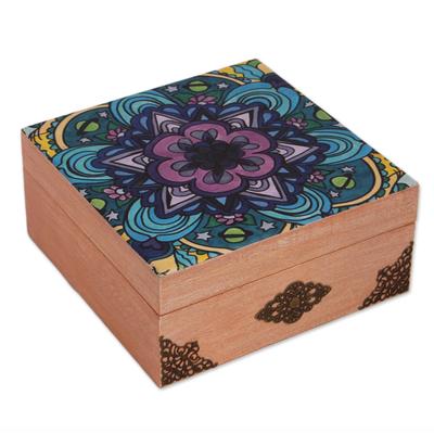 Decoupage wood decorative box, 'Cosmic Mandala' - Mandala Motif Decoupage Wood Decorative Box from Mexico