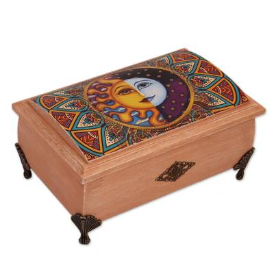 Decoupage wood decorative box, 'Life is Plentiful' - Sun and Moon Decoupage Wood Decorative Box from Mexico