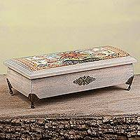 Decoupage wood decorative box, 'World of the Sun' - Sun Motif Decoupage Wood Decorative Box from Mexico