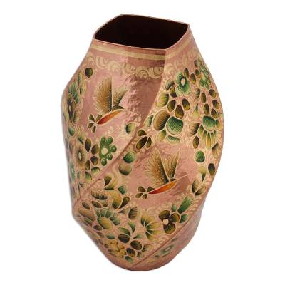 Hummingbird Motif Gold Accented Copper Vase from Mexico