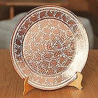 Silver accented copper decorative plate, 'Gleaming Spring' - Floral Silver Accented Copper Decorative Plate from Mexico