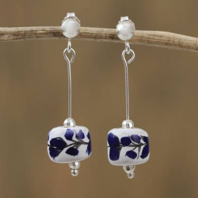 Sterling silver and ceramic dangle earrings, 'Spring Day' - Floral Talavera Sterling Silver and Ceramic Earrings