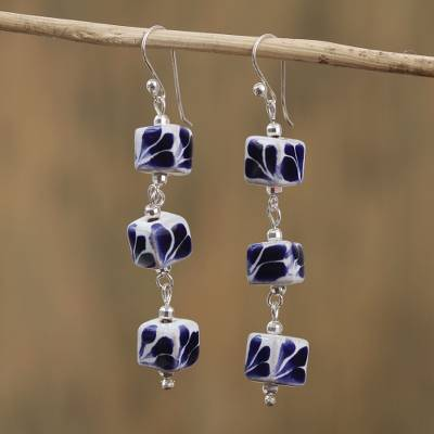 Sterling silver and ceramic dangle earrings, 'Talavera Baubles' - Artisan Crafted Talavera Ceramic Dangle Earrings from Mexico