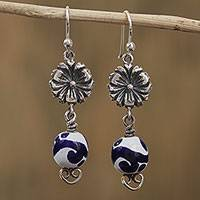 Sterling silver and ceramic dangle earrings, 'Talavera Garden' - Floral Talavera Ceramic Dangle Earrings from Mexico