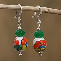 Agate and ceramic dangle earrings, 'Talavera Spring' - Agate and Ceramic Floral Dangle Earrings from Mexico