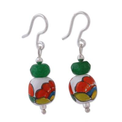 Agate and Ceramic Floral Dangle Earrings from Mexico