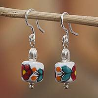 Sterling silver and ceramic dangle earrings, 'Scarlet Begonias' - Floral Sterling Silver and Ceramic Dangle Earrings