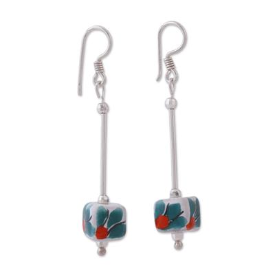 Sterling silver and ceramic dangle earrings, 'In the Light' - Talavera Sterling Silver and Ceramic Dangle Earrings