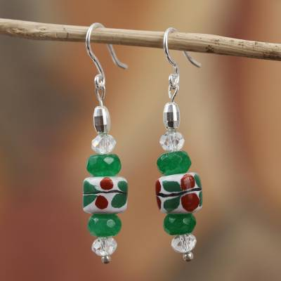 Agate and ceramic dangle earrings, 'Day of Sun' - Floral Agate and Ceramic Dangle Earrings from Mexico