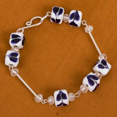 Sterling silver and ceramic beaded link bracelet, 'Blue Talavera' - Sterling Silver and Ceramic Beaded Link Bracelet in Blue