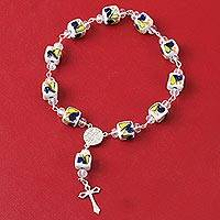 Sterling silver and ceramic rosary, 'Light of Life' - Talavera Sterling Silver and Ceramic Cross Rosary