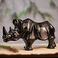 Marble sculpture, 'Stark Rhino' - Hand-Carved Black Marble Rhino Sculpture from Mexico