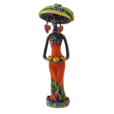 Ceramic statuette, 'Catrina with Pumpkins' - Ceramic Catrina Skeleton Statuette in Orange from Mexico