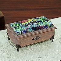Decoupage wood decorative box, 'Dapper Skeleton' - Day of the Dead Decoupage Decorative Box from Mexico