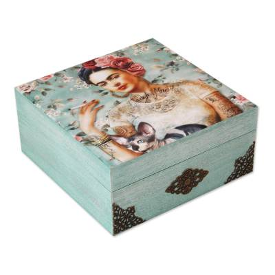 Decoupage wood decorative box, 'Frida's Beauty' - Frida-Themed Decoupage Wood Decorative Box from Mexico
