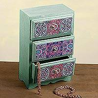 Decoupage wood jewelry chest, 'Mandala Keeper'