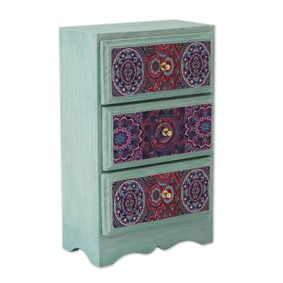 Decoupage wood jewelry chest, 'Mandala Keeper' - Mandala Decoupage Wood Jewelry Chest from Mexico