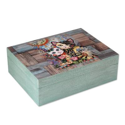 Cat-Themed Decoupage Wood Decorative Box from Mexico