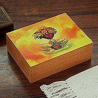 Decoupage wood decorative bow, 'The Majestic Heart' - Religious Decoupage Wood Decorative Box from Mexico