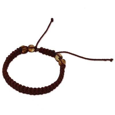 Amber beaded macrame bracelet, 'Color of the Sun' - Amber Beaded Macrame Bracelet from Mexico