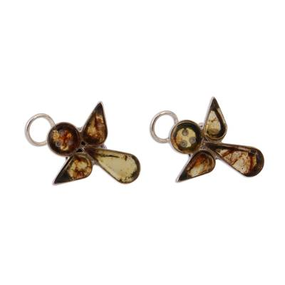 Angel Amber Button Earrings Crafted in Mexico