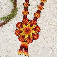 Glass beaded pendant necklace, 'Fiery Geometry' - Ceramic Beaded Pendant Necklace in Fiery Hues from Mexico