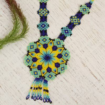 Glass beaded pendant necklace, 'Cool Geometry' - Ceramic Beaded Pendant Necklace in Cool Hues from Mexico