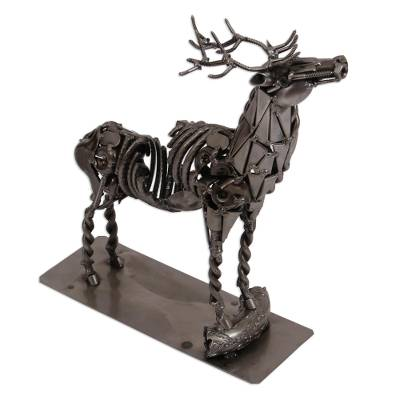 Upcycled Metal Auto Part Deer Candle Holder from Mexico