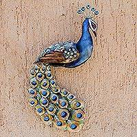 Steel wall sculpture, 'Displaying Plumage' - Steel Peacock Wall Sculpture Crafted in Mexico